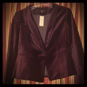 Ann Taylor fitted blazer size 0 deep wine velvety